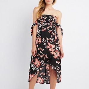 Floral Off The Shoulder Asymmetrical Midi Dress